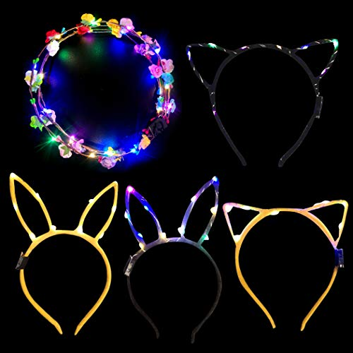 Coxeer 4PCS Hair Hoop Party Headband Party Favor Led Light Up Hair Band with 2 Flower Wreaths for Halloween