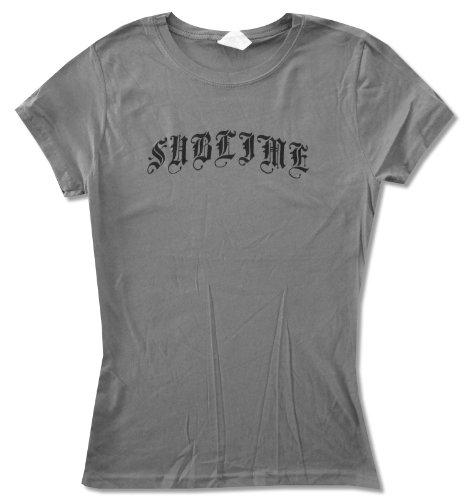 Juniors Sublime Classic Black Logo on Grey Baby Doll T-Shirt (Medium)