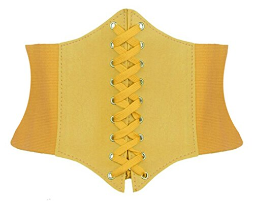 Alivila.Y Fashion Faux Leather Underbust Waist Belt Corset A13-Yellow for $<!--$7.99-->
