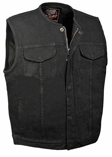 Milwaukee Leather Men's Collarless Denim Club Style Vest w/Hidden Zipper (Black,)