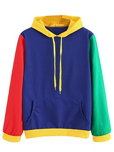 (SweatyRocks Women's Long Sleeve Hoodie Sweatshirt Kangaroo Pocket Colorblock Pullover Shirt Blouse Multi S)