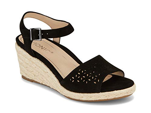 Vionic Women's Tulum Ariel Wedge Sandal - Ladies Sandals Concealed Orthotic Support Black 8 W - Concealed Wedge