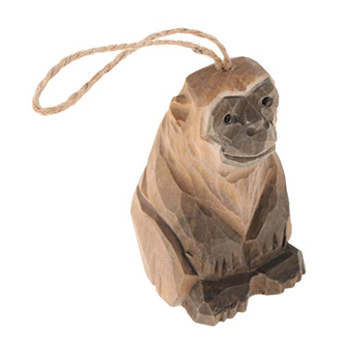SM SunniMix 6 Styles Vivid Lifelike Handmade Wood Hanging Wild Animal Statue Figurines Sculpture Wooden Ornaments for Home Garden Wall Decoration Birthday Gifts - Monkey