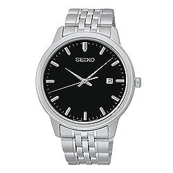 Seiko Men's Quartz Black Dial Stainless Steel Bracelet Watch SUR093