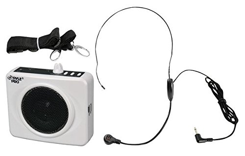 Usb Portable Headset - PYLE-PRO PWMA60UW 50 Watts Portable USB Waist-Band PA System with Headset Microphone, Rechargeable Batteries (Color White)