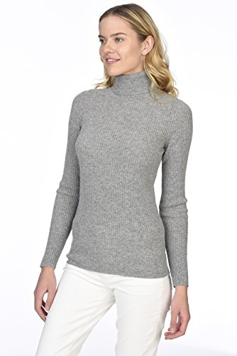 State Cashmere Women's 100% Pure Cashmere Long Sleeve Pullover Ribbed Turtleneck Sweater Heather Grey XL by State Cashmere (Image #2)