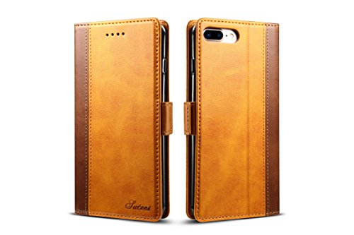 (iPhone 7 Plus/8P Leather Case,TACOO Soft Double Color Block Pu Slim Fit Kickstand Card Money Holder Phone Back Wallet Cover Shell for Apple iPhone 8 Plus 5.5 Inch 2017,Apple iPhone 7 Plus 2016)