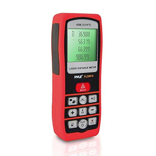 Pyle PLDM18 Handheld Laser Distance Meter with Backlit LCD Display and Direct/Indirect Volume/Area Measuring