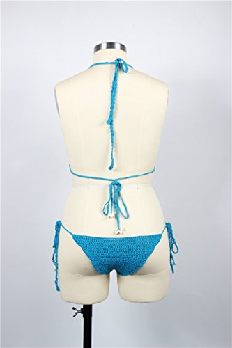 a Blu mano Lady Decoration Costume Shell bagno con Paplan all'uncinetto Donne Beach da Bikini conchiglia wqO6FE