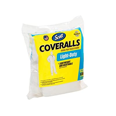Kimberly-Clark Scott 76104 Fabric Light Duty Coverall, Disposable (Bag of 5)