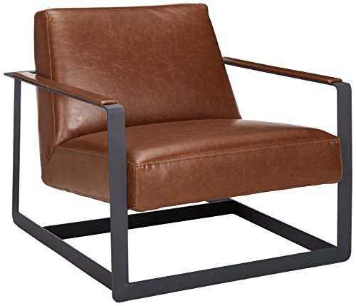 Modway Seg Faux Leather Guest Reception Modern Accent Lounge Arm Chair In Brown (Faux Leather Reception)