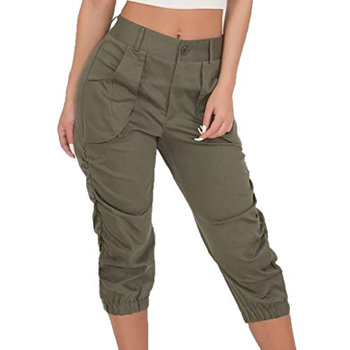 JOFOW Cargo Pants Capri Womens Solid Midi Military Trousers Loose Slim High Waist Cool Chino Casual Pleated Cigarette Pant (S,Green)