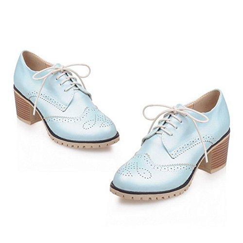 Amoonyfashion Dames Veterschoenen Ronde Dichte Neus Kitten Hakken Pu Stevige Pumps-schoenen Blauw