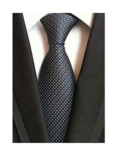 Men's Black Navy Blue Patterned Silk Ties Classic Ribbed Designer Luxury Necktie (Patterned Tie Black)