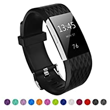 Kutop Fitbit Charge 2 Band, Soft Silicone Replacement Watchband Sports Fitness Strap Bands for Fitbit Charge 2 Wristband