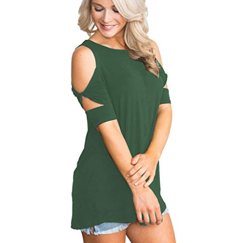 (YKARITIANNA Womens O-Neck Short Sleeve Solid Casual Loose Strapless T Shirt Tops Blouse)