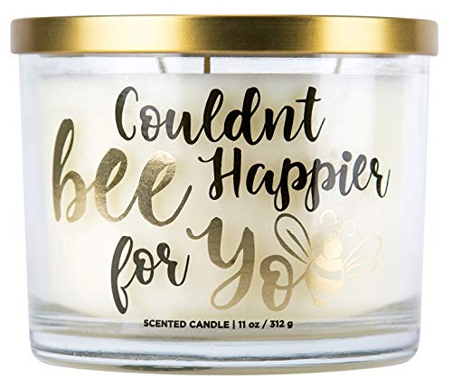 Wick 3 Jar Candle (Aromascape Couldn't Couldn't Bee Happier for You 3-Wick Scented Candle (Honey, Vanilla and Almond Milk), 11-Ounce, White)