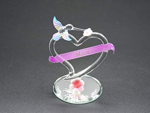 Handmade glass heart with MOM in the banner, Hummingbird on top of heart and I Love You on the mirror