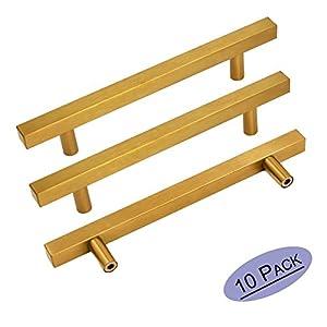 Brushed Brass Cabinet Knobs Drawer Pulls Furniture Hardware - Goldenwarm LS1212GD128 T Bar Square Gold Kitchen Cabinet Door Handle 5 Inch Hole Centers Bathroom Cabinet Pulls 10 Pack