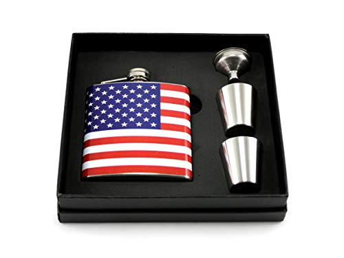 American Flag Stainless Steel Flask Gift Set - Red White -