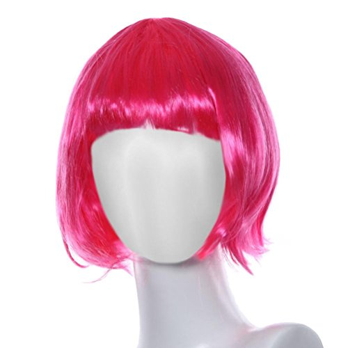 DEESEE(TM) Masquerade Small Roll Bang Short Straight Hair Wig cosplay wig (pink) (Adult Short Pink Wig)