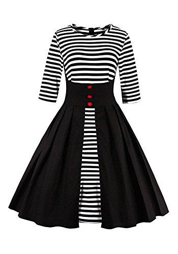 メロドラマティックあなたはシロクマBotomi 1950年代女子プリーツストライプのラインスイングカクテルパーティードレス