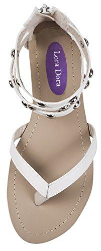 Strap Ankle Diamante Dora Lora Weiß Sandals Womens Strap Triple Gladiator 8HgZwq
