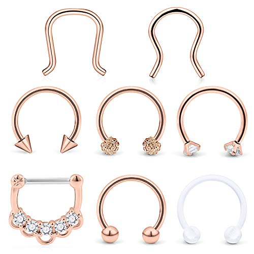 Hoeudjo Septum Clicker Rings 16G Surgical Steel Nose Hoop Rings Retainer Body Piercing Jewelry with Clear CZ Women Men U & D Shaped Daith Helix Tragus Lip Cartilage Earrings 8 ()