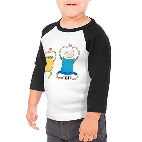 Kid's Adventure Time Finn and Jake Toddlers Jersey 3/4 Sleeve Rags Baseball T Shirt for 2-6T Boys and Girls Black