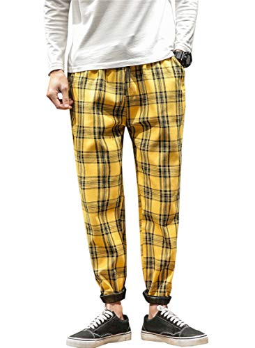Men's Plaid Pattern Elastic Waist Drawstring Ankle Plaid Pants, US 32 = Tag XL ()