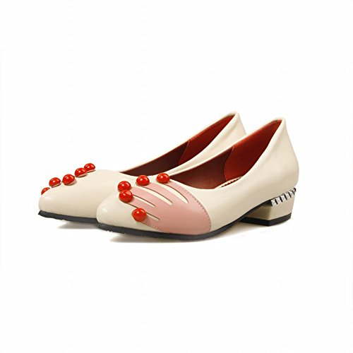 Carolbar Womens Hand-Print Pointed-Toe Assorted Colors Low Heel Loafers Shoes Beige GKdplK