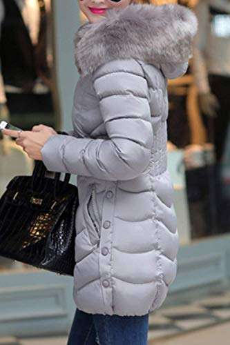 Acolchada De Parkas Invierno Casuales Larga Fashion Encapuchado Invierno Otoño Color Cuello Manga Cremallera Abrigos Sintética Mujer Bolsillos Modernas Plumas Laterales Piel Pluma Sólido Grey Chaqueta qvO6I