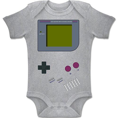 Strampler Motive - Gameboy Shirt - 1-3 Monate - Grau meliert - BZ10 - Kurzarm Baby-Strampler / Body für Jungen und Mädchen