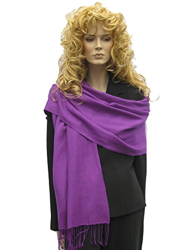 Orchid Cashmere - Cashmere Pashmina Group: Solid Pashmina Shawl, Scarf, Wrap & Stole(Regular size) Purple Orchid