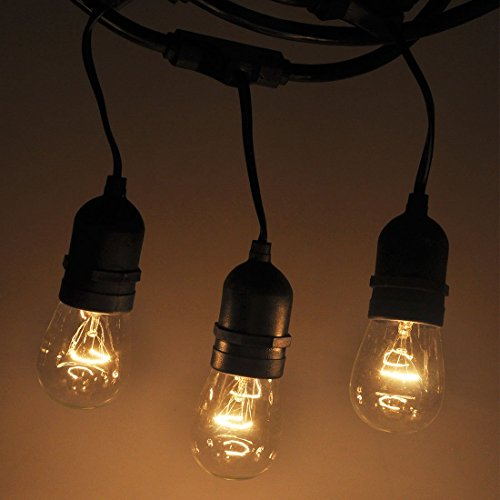 String Lights Patio Ambience Bulbs, Satu Brown Commercial Grade Outdoor Weatherproof Garden Party Cafe Bistro Lamp 24ft with 12 Hanging Sockets, 12 +3 extra Bulbs Lighting for Market Umbrella Backyard (Cheapest Metal Detector)