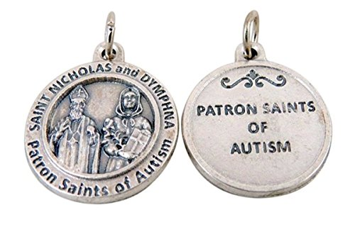 Silver Toned Base Patron of Autism Saint Nicholas and St Dymphna Medal Pendant, 3/4 Inch -