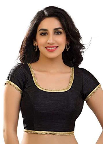 themilestocks Polyester Raw Silk Indian Wedding Blouse Top Choli Saree Bollywood Belly Dance (L, Black)