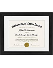 11x14 Document Frame - Made for Documents Sized 8.5x11 Inch with Mat and 11x14 Inch without Mat Black