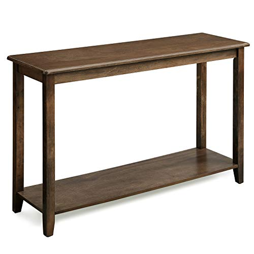 VASAGLE Large Console Table with Real Wood Legs, Simple Rustic Entry Table  with Storage Shelf, Sofa Table for Entryway, Hallway, Living Room, Wood ...
