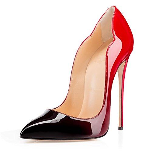 Escarpins 12cm 1 Elashe rouge Laçage Grande Femmes Aiguille Talon Chaussures Stiletto Taille noir 1wvxdTIvq