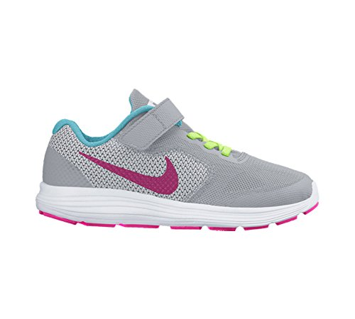 Nike Boys Revolution 3 TDV Running Shoes Wolf Grey/Vivid Pink/White/Ghost Green