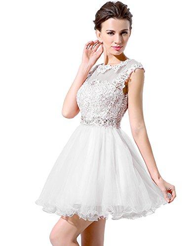 Belle Maison Courte Pure Robes De Bal Robe De Bal Du Cou Hlx011 Blanc
