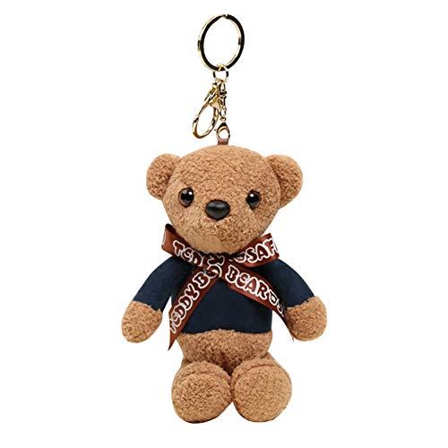 FAgdsyigao Bear Pattern Pendant Keychain Key Ring Mini Soft Plush Doll Fragrance for Car Bag Hanging Ornament Navy Blue