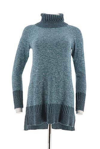 - Isaac Mizrahi SOHO Variegated Rib Turtleneck Sweater Tunic Blue XS New A295807