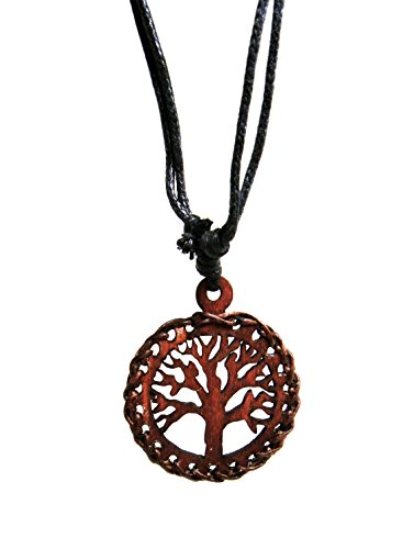 Hawaiian Craftier Tree of Life Wood Pendant Necklace Handmade Style Beach Boy Men Yoga (brown)