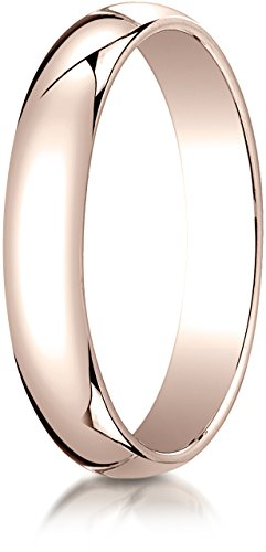 Benchmark 14K Rose Gold 4mm Slightly Domed Traditional Oval Wedding Band Ring, Size 8.25 ()