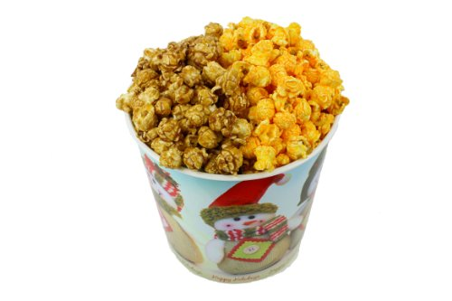 Signature Popcorn - Gourmet Popcorn - 1-Gallon Happy Holidays Snowmen Reusable Plastic Tin, 2-flavors - Caramel and Cheddar Cheese (Popcorn Tins For Christmas)