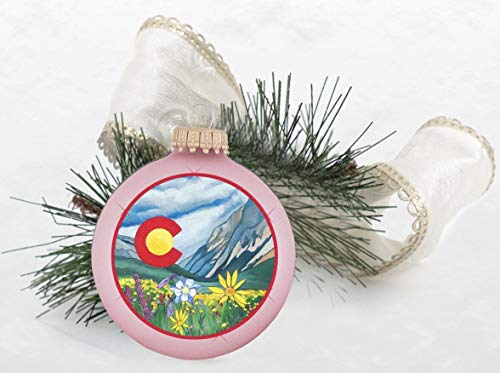 (Colorado Wildflower Christmas Tree Ornament Chic Pink with Bow)