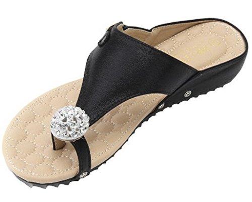 Femmes Sandales AgeeMi Flops EuL09 Décorations Shoes Noir Diamant Plat Artificiel Flip RUfAwq