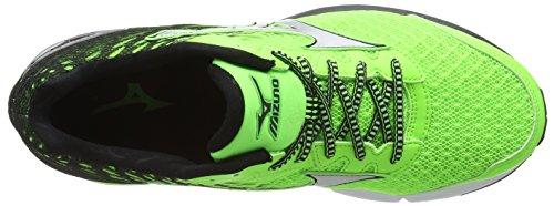 Mizuno Wave Rider 19, Scarpe da Corsa Uomo Green (Green Gecko/Silver/Black)